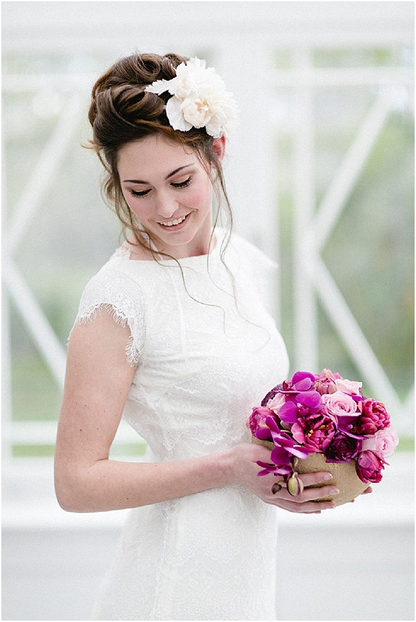 romantic bride with pink flowers