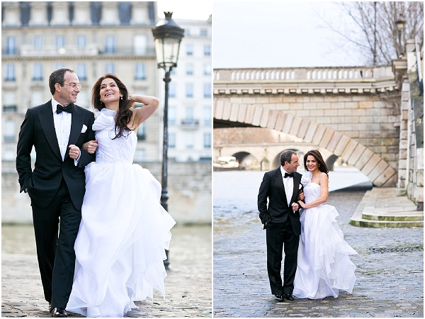 walking paris wedding day