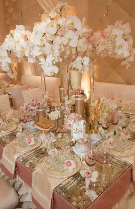 champagne wedding table