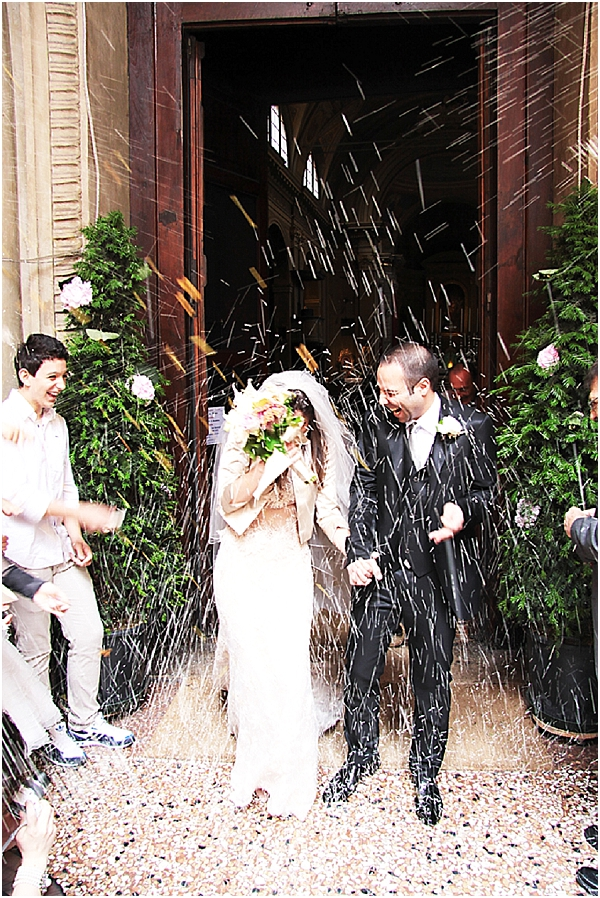 raining confetti wedding