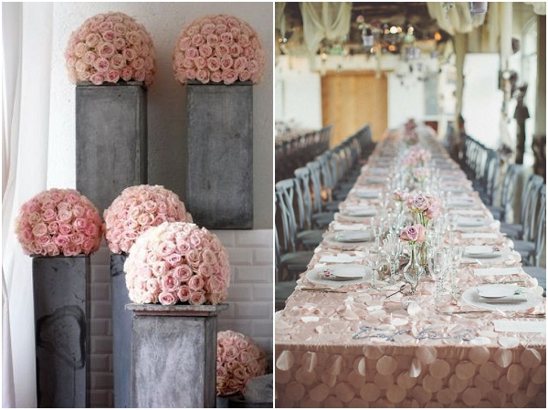 blush grey wedding decorations