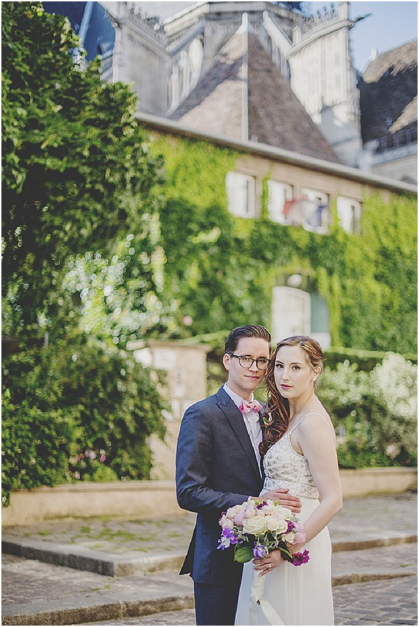 wedding against paris architecture