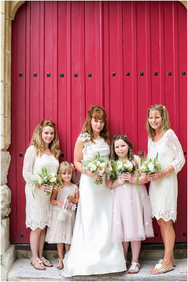 white boho bridesmaids