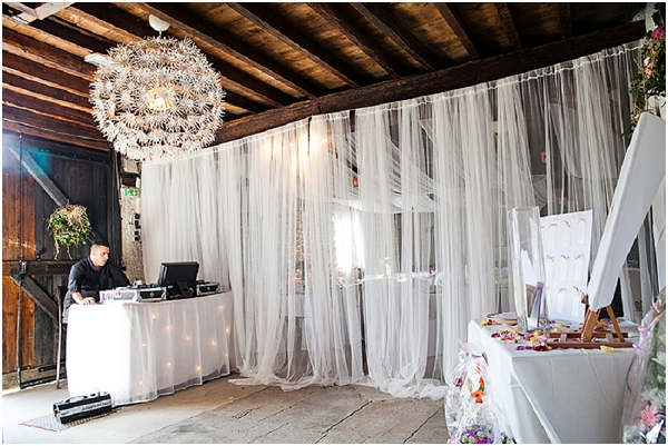 white wedding curtain