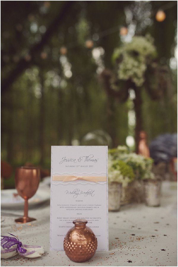 bronze wedding table ideas
