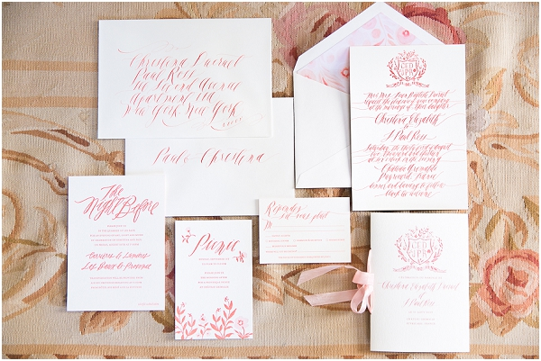coral white stationery