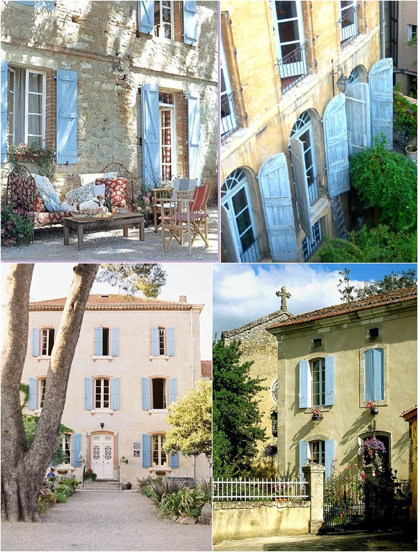 french houses with blue shutters
