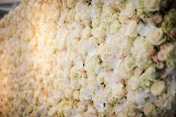 Wall of flowers wedding backdrop