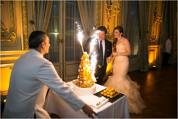 wedding croquembouche presented