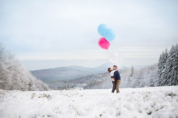 Festive Marriage Proposal Snow Mountains