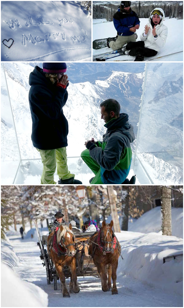 Festive Marriage proposal-Slope Skyfall Horse Drawn Carriage