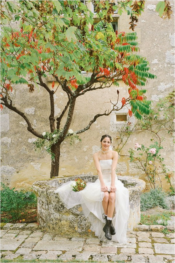 Bride under beautiful French tree