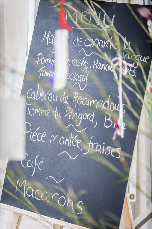 hand written wedding menu