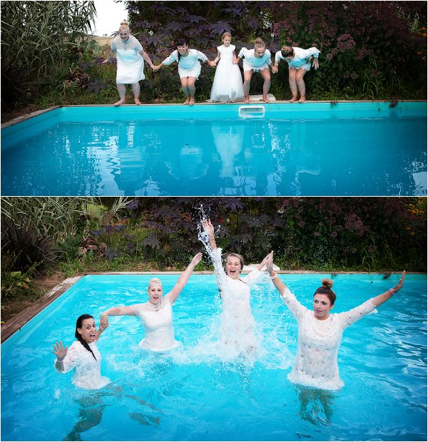 jump in pool wedding day