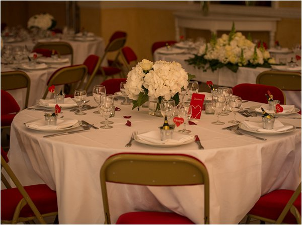 red white wedding tables