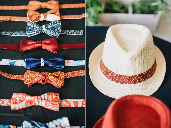 groom bow tie and hats