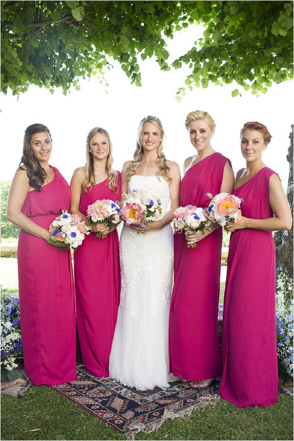 Navy Blue And Hot Pink Bridesmaid Dresses Wedding In Jax