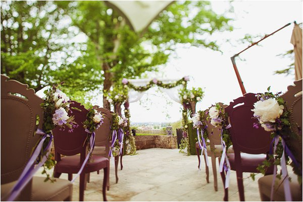 Outdoor wedding ceremony with pretty flowers