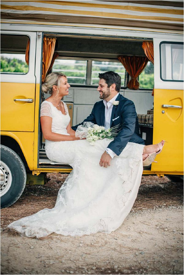 yellow camper van wedding