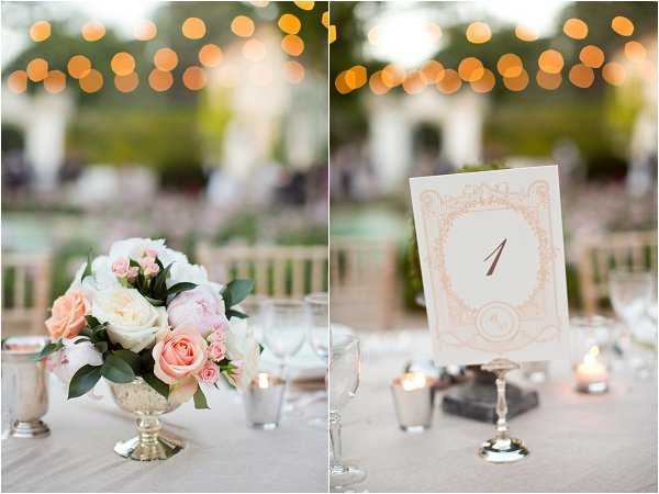 peach roses tablecentres