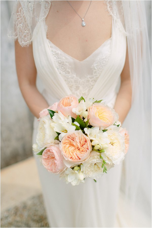 peach white wedding bouquet