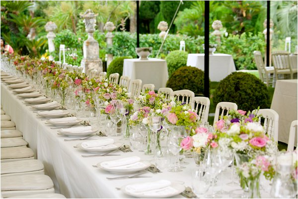 green wedding table flowers