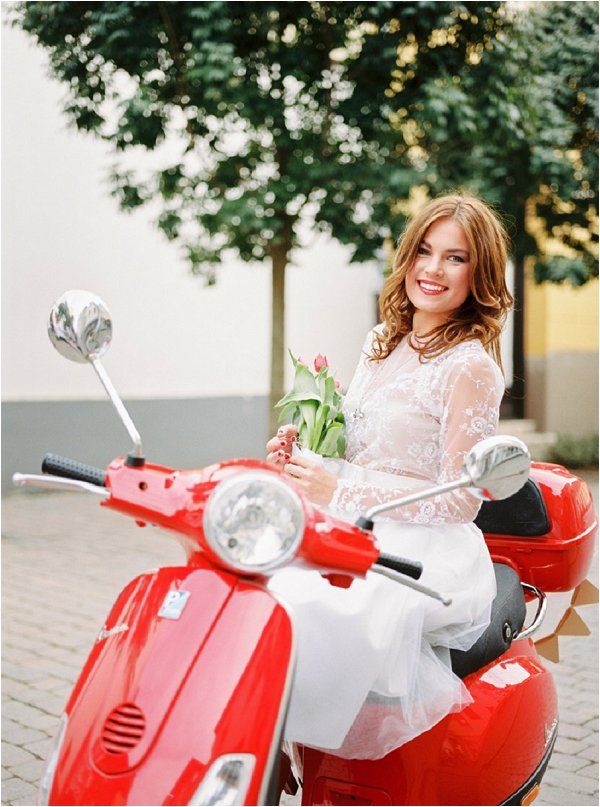 red vespa bride