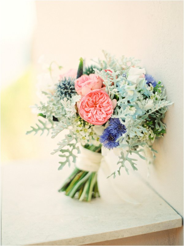 coral and green bouquet