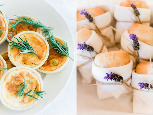 lavender wedding food