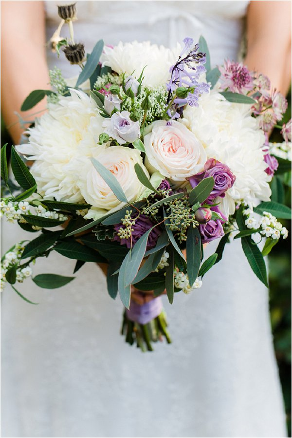 lavender white wedding bouquet