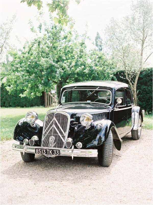 black vintage wedding car