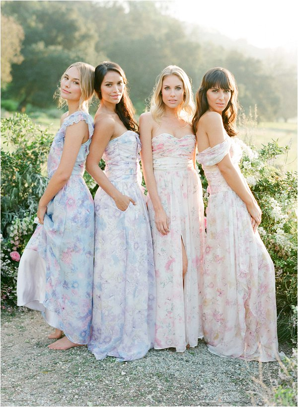 floral bridesmaids dresses