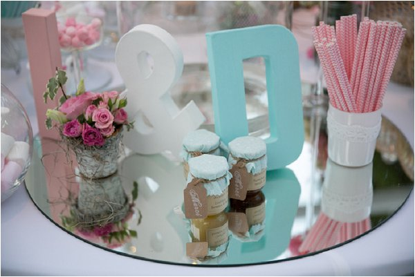 mint and pink wedding decor