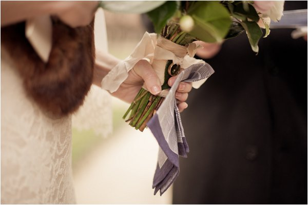 ring tied to bouquet
