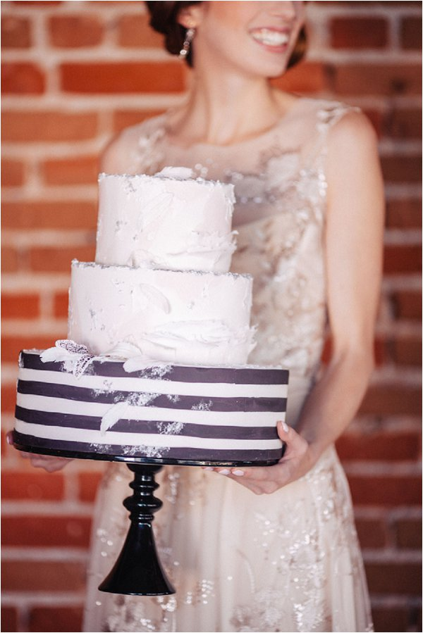 black and white stripped cake