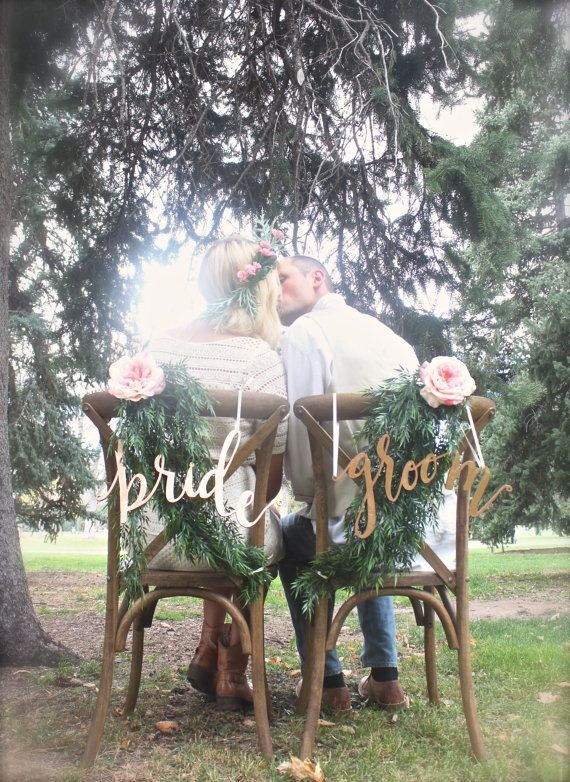 copper bride groom chair signs
