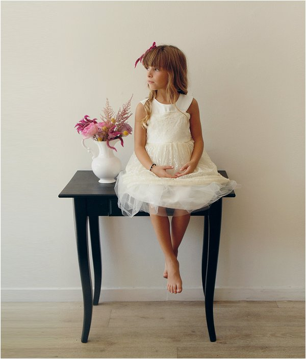 simple white flower girl dress
