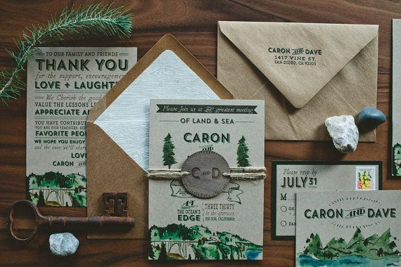 rustic woodland water colour wedding invitation set!