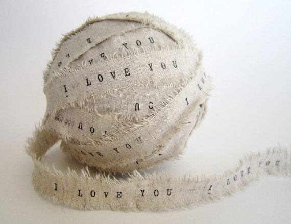 I love you burlap ribbon