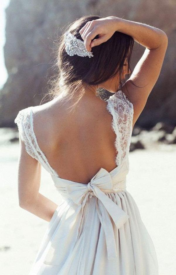 backless rustic wedding dress