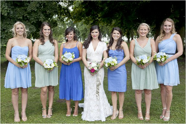 blue green bridesmaid dresses