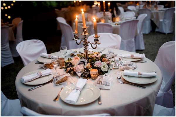 chic cream and pink wedding table