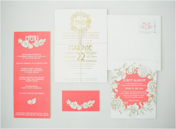 coral and ivory wedding stationery