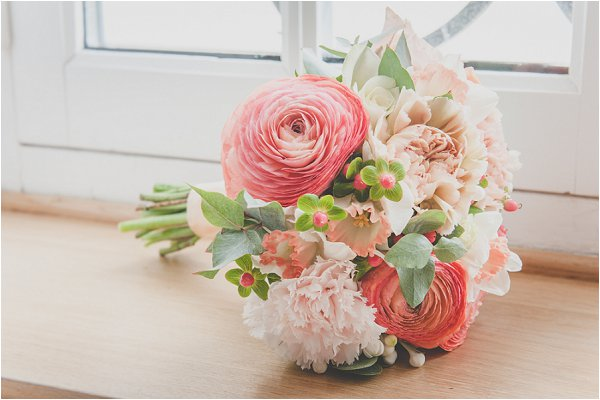 coral and succulent bouquet