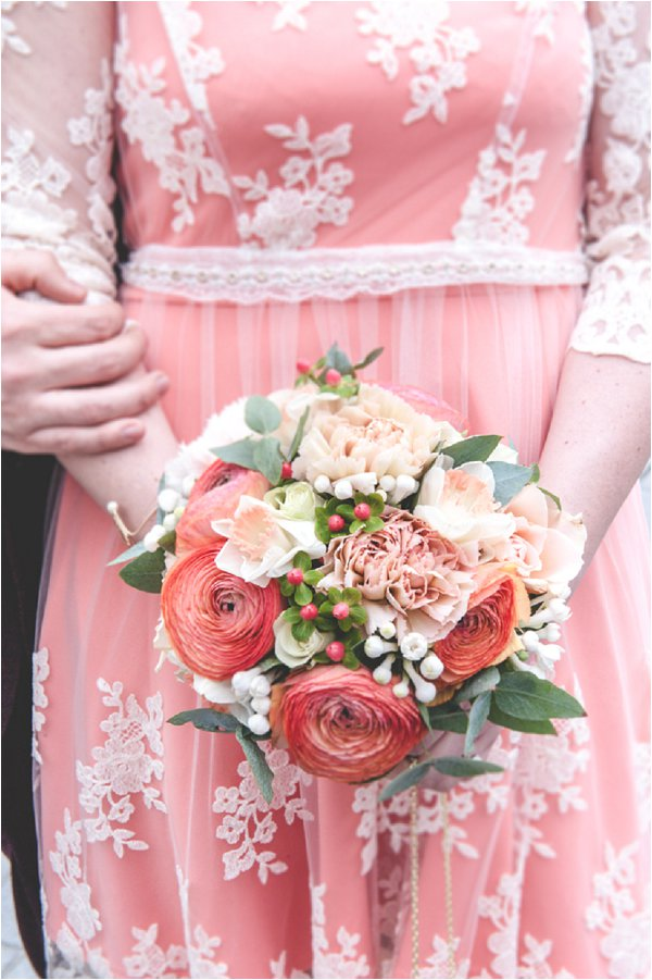 coral wedding dress