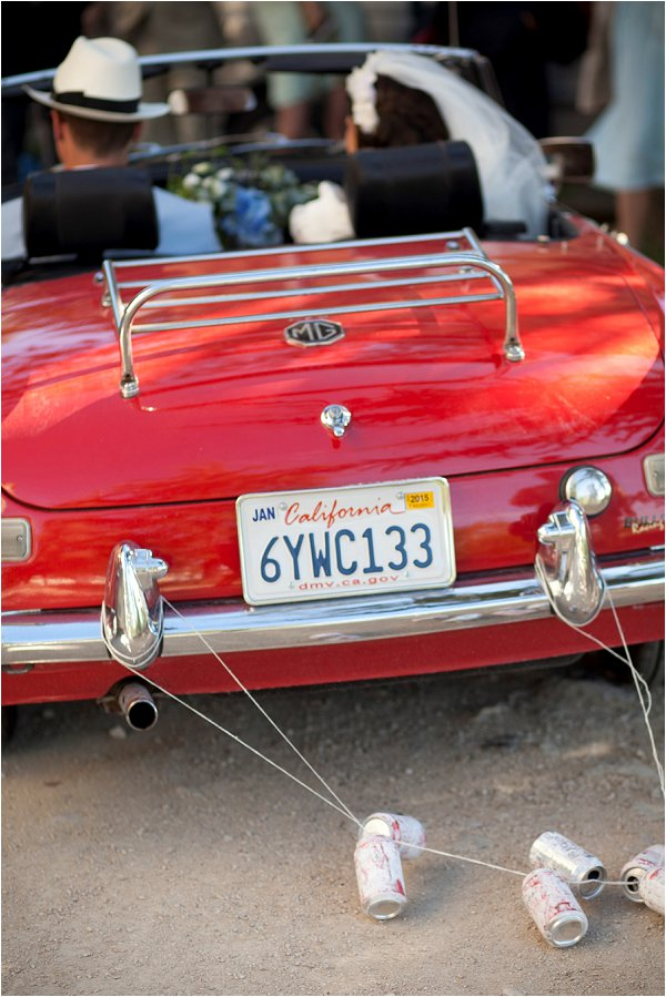 red vintage MG wedding car