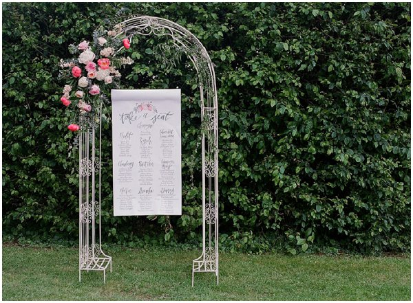 floral arch wedding tableplan