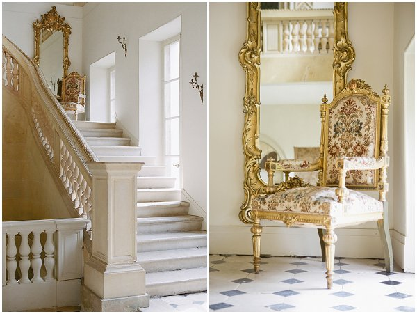 gold and white chateau interior