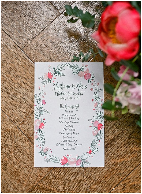 hand illustrated watercolour wedding stationery