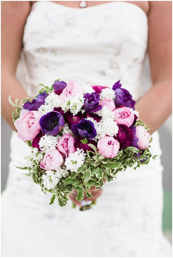 purple tone bridal bouquet